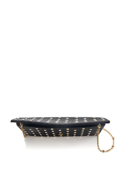 Envelope Black Crystal Clutch with Pearl Studs Top