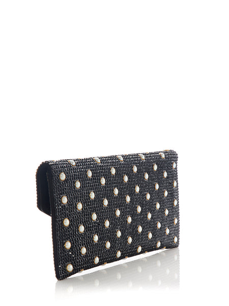 Envelope Black Crystal Clutch with Pearl Studs Back