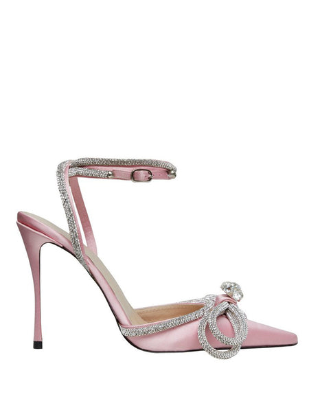 Crystal Satin Pumps Pink Side