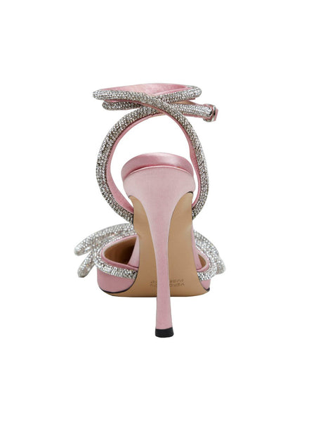 Crystal Satin Pumps Pink Side Back