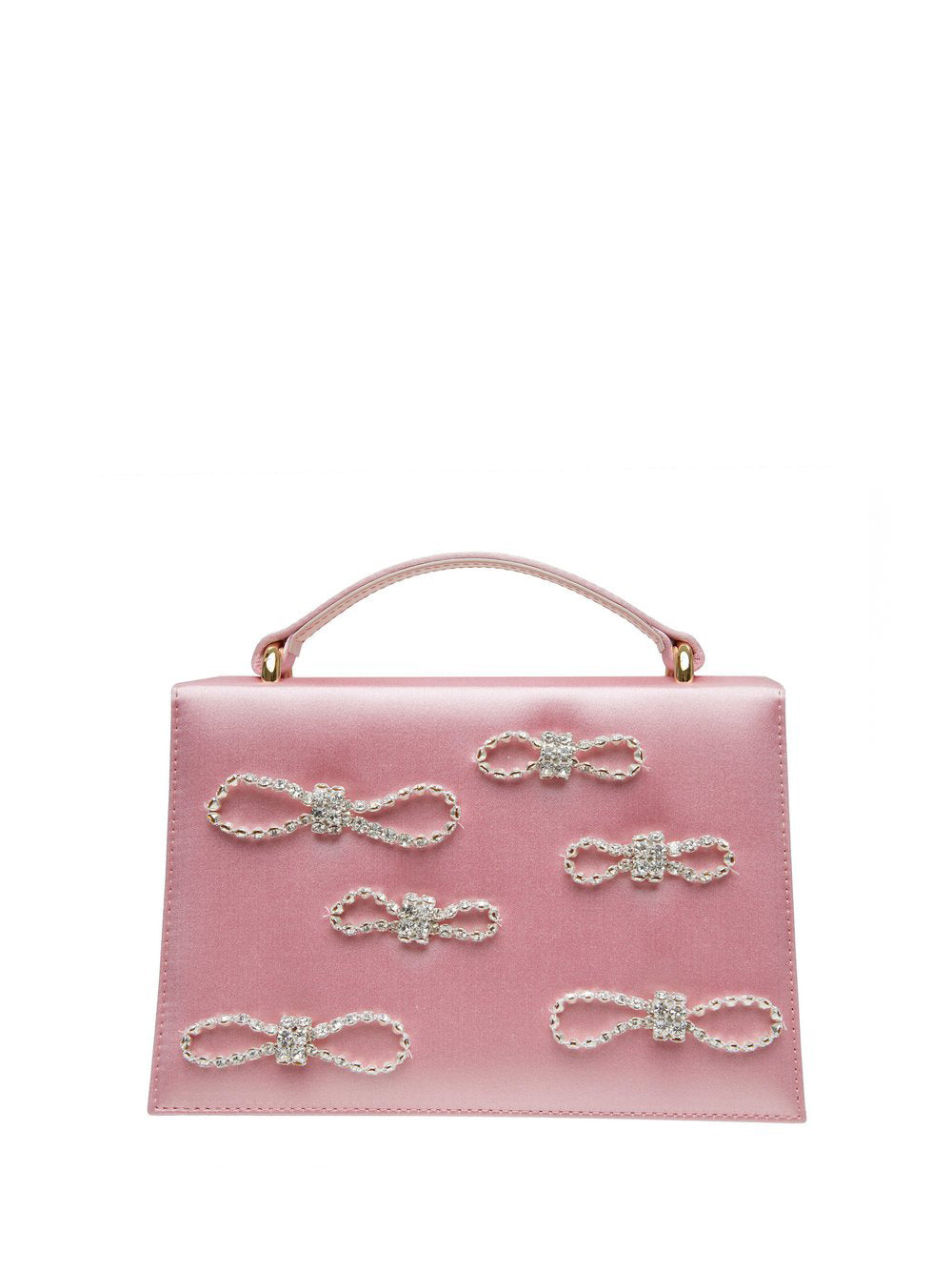 Crystal Bow Embellished Satin Top Handle Bag Pink