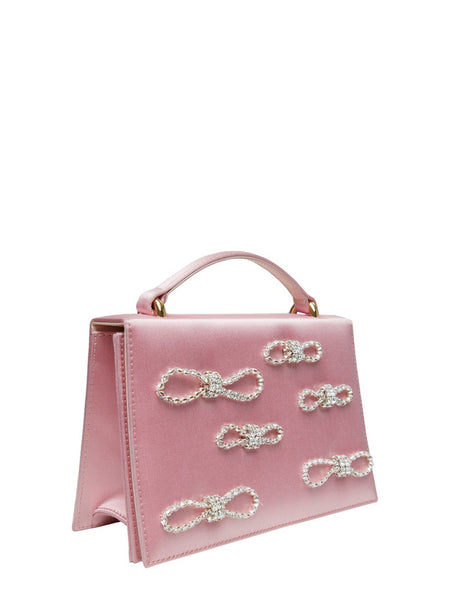 Crystal Bow Embellished Satin Top Handle Bag Pink 3/4