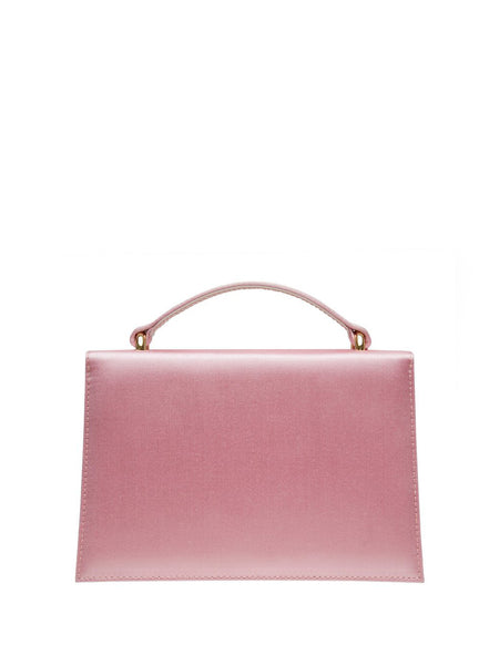 Crystal Bow Embellished Satin Top Handle Bag Pink Back