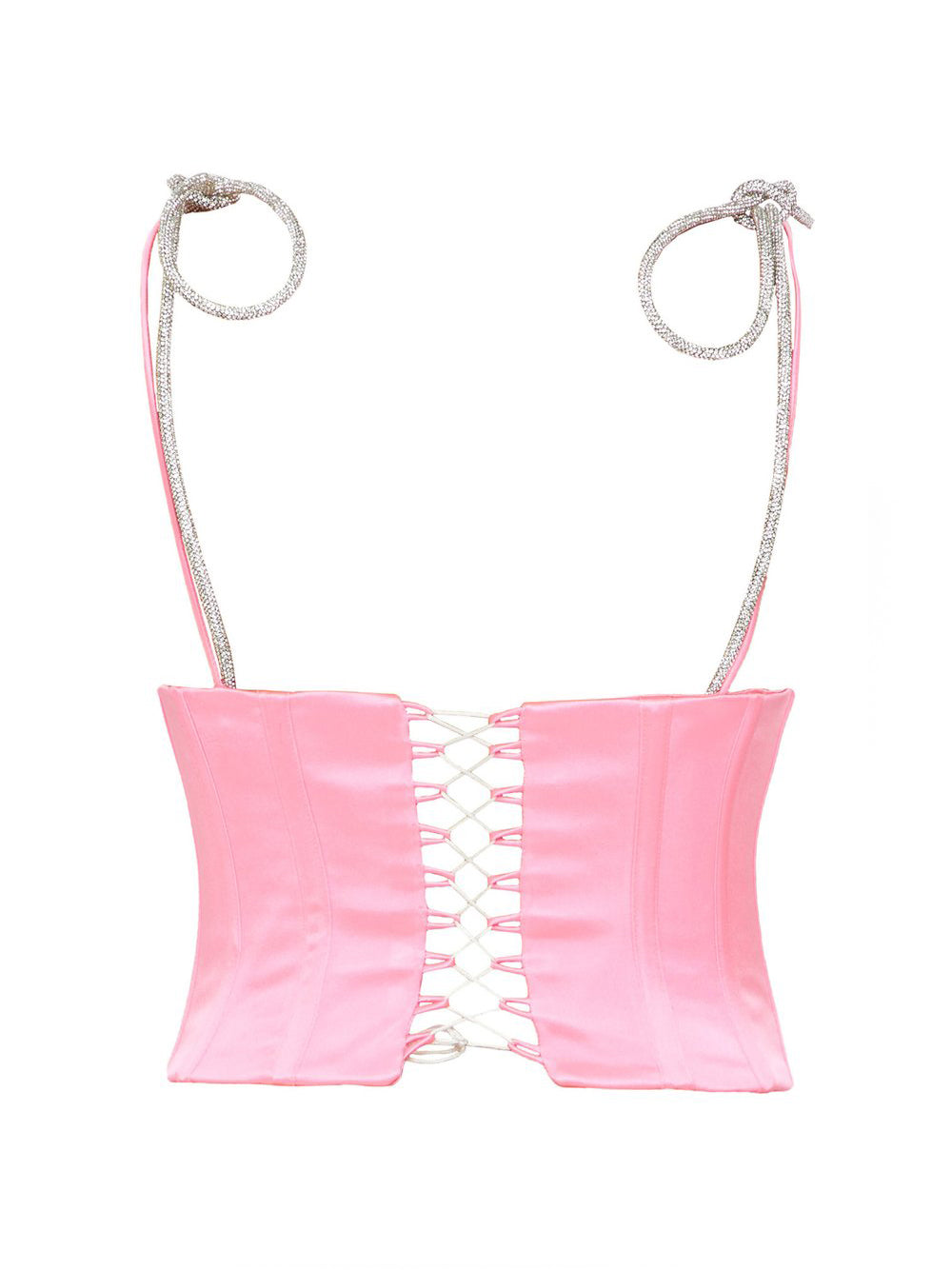 Pink Satin Corset With Crystal Bow Straps