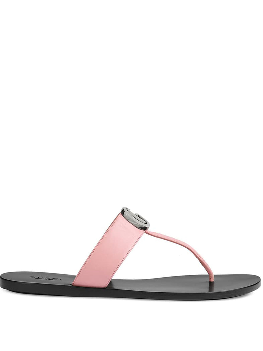 Women's Leather Thong Sandal with Double G - Pink