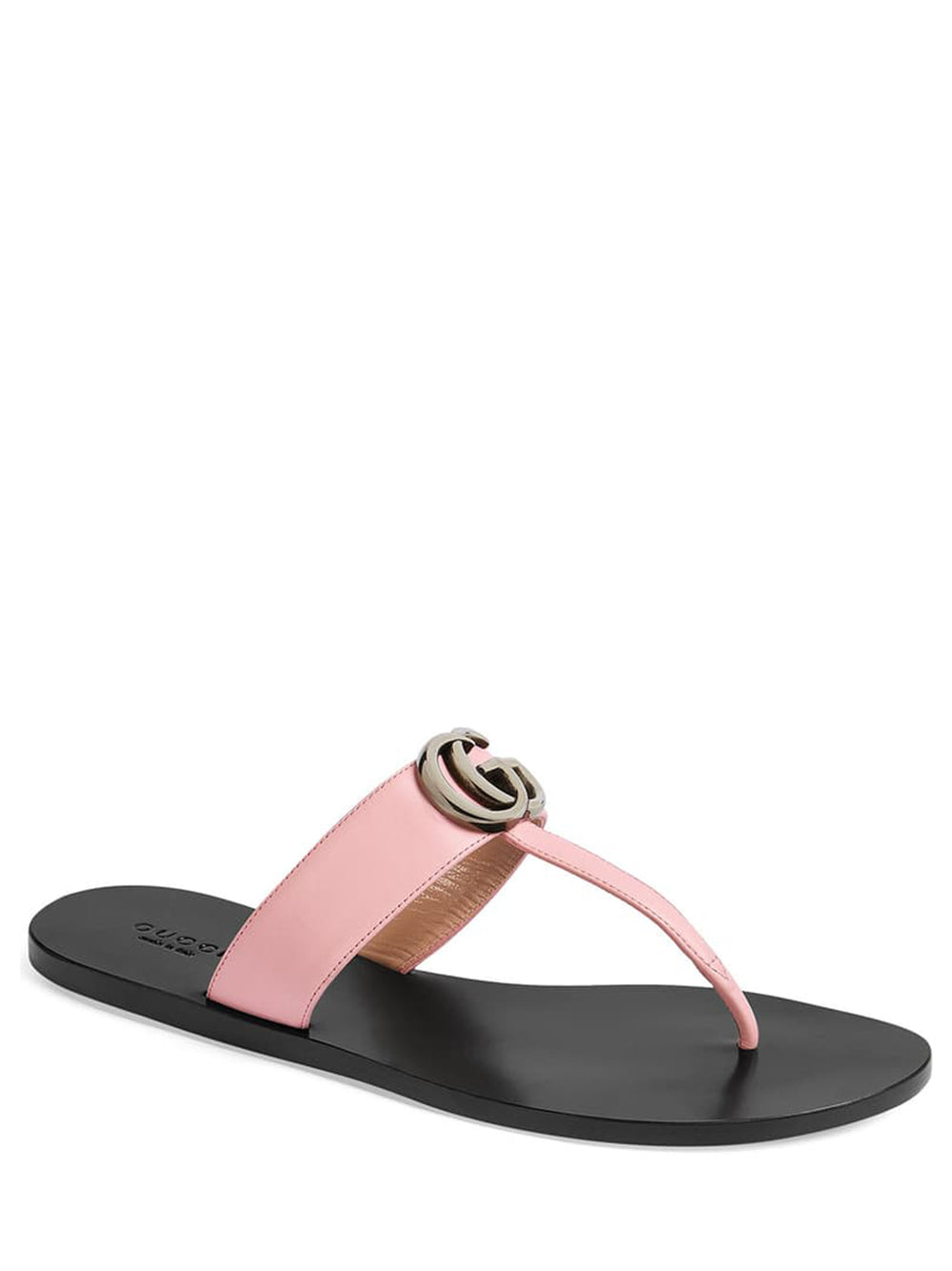 Women's Leather Thong Sandal with Double G - Pink 3/4