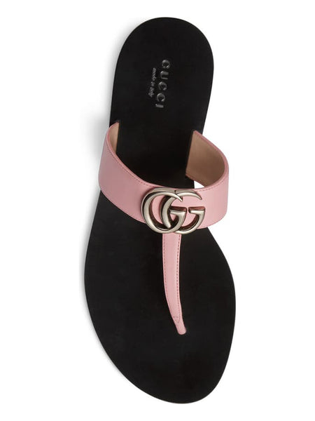 Women's Leather Thong Sandal with Double G - Pink Top