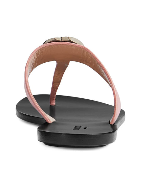 Women's Leather Thong Sandal with Double G - Pink Back