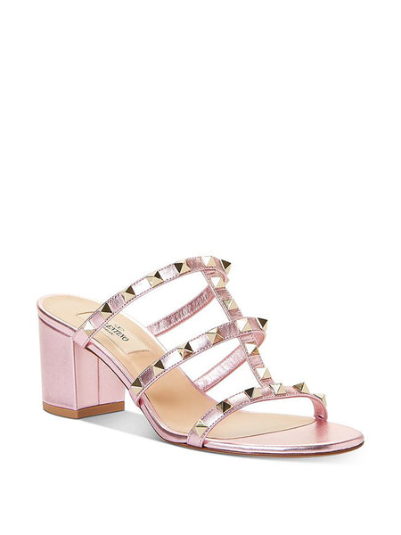 Women's Rockstud Block Heel Slide Sandals 3/4