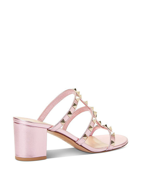 Women's Rockstud Block Heel Slide Sandals Back