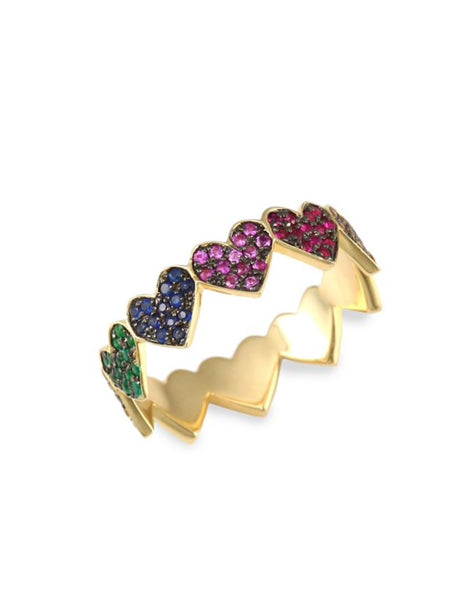 Rainbow Heart Eternity Ring