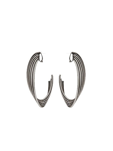 Tribal Twisted Hoop Earrings in Metal - front view