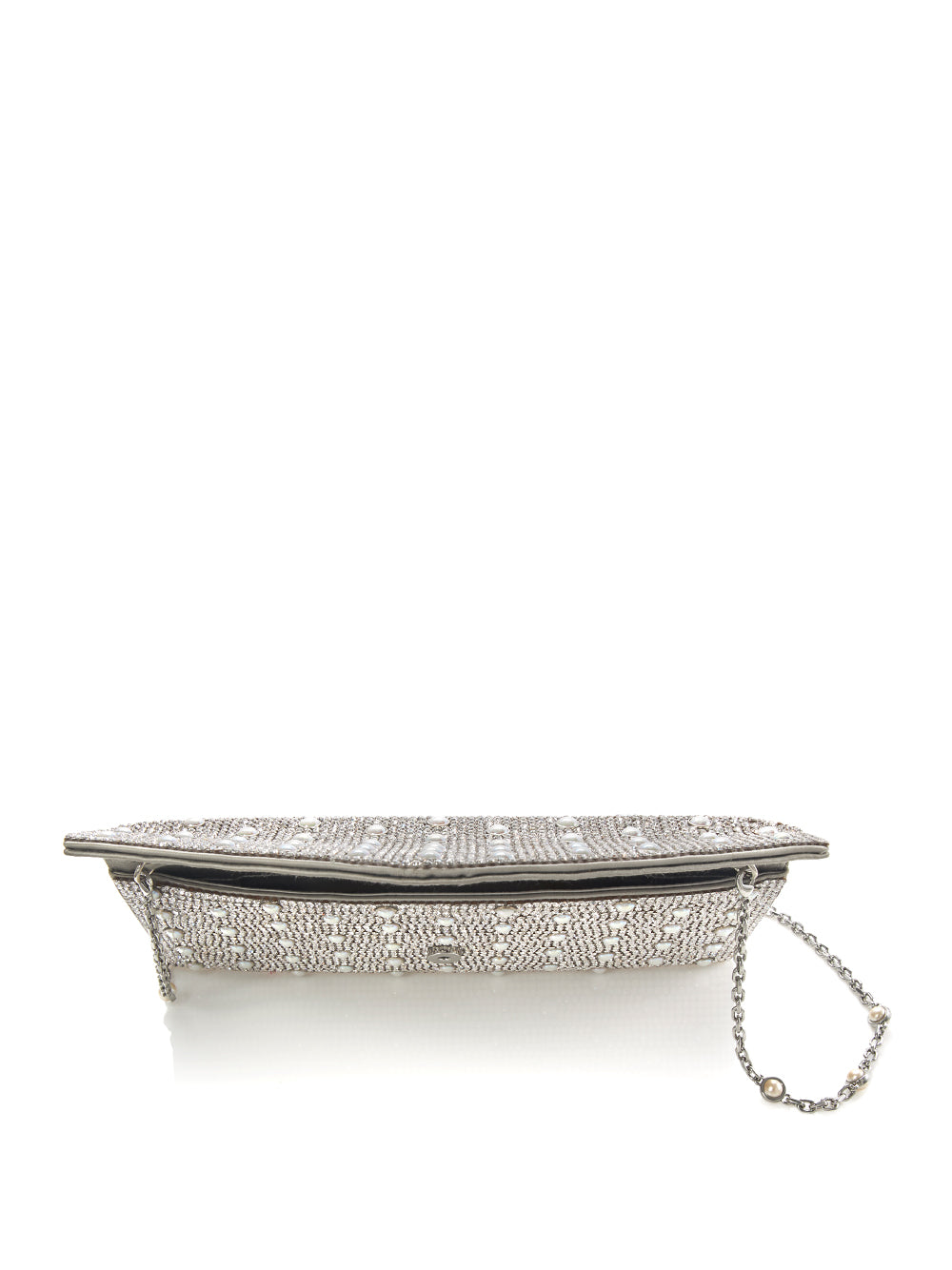 Envelope Silver Crystal Clutch with Pearl Studs Top