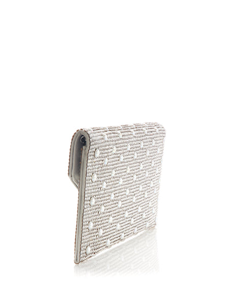 Envelope Silver Crystal Clutch with Pearl Studs Back