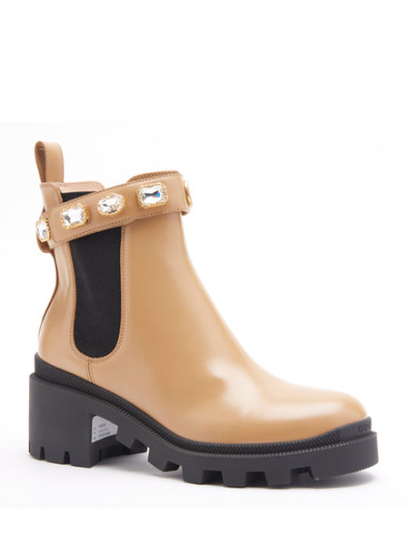 Leather Ankle Boot With Belt - Tan