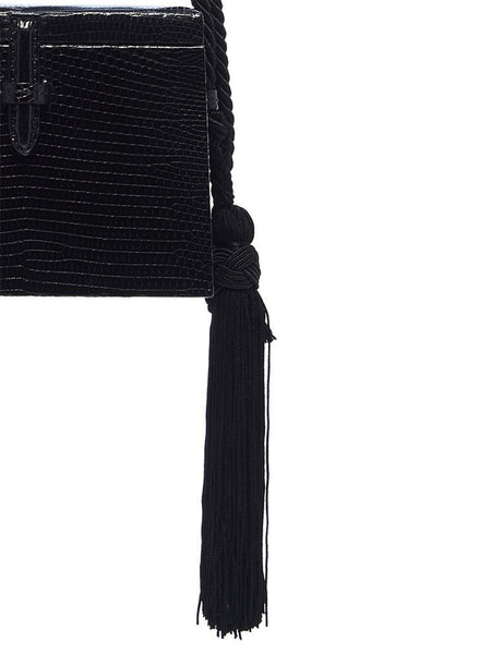 Mini Square Lizard Trunk Crossbody Bag Detail