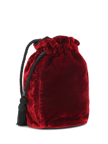 The Tula Drawstring Velvet Clutch