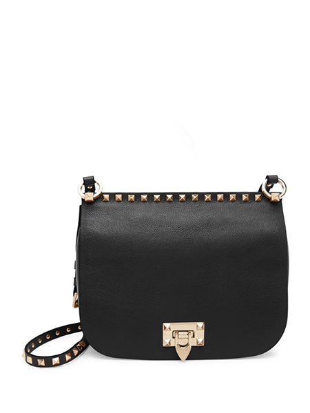 Valentino Garavani Rockstud Leather Saddle Bag