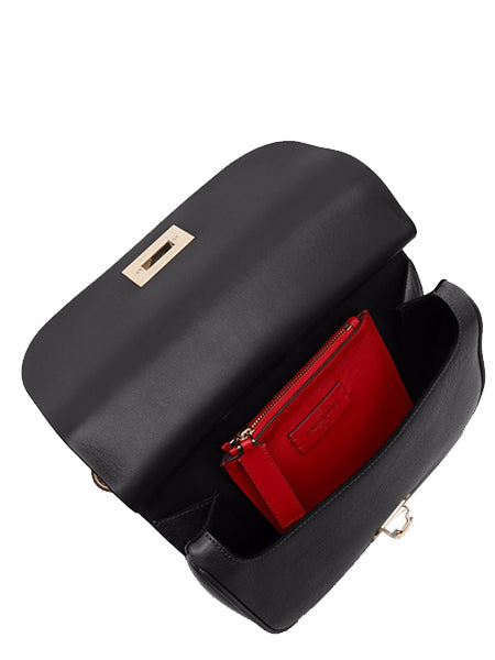 Valentino Garavani Rockstud Leather Saddle Bag (Open)