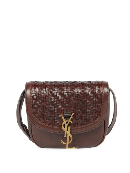 Kaia Woven Leather & Suede Saddle Bag
