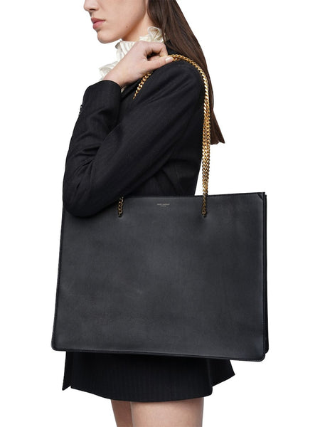 Shopping Chic Leather Tote On Model