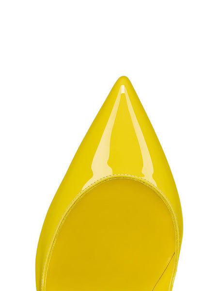 Hot Chick 100 Yellow Patent Leather Toe