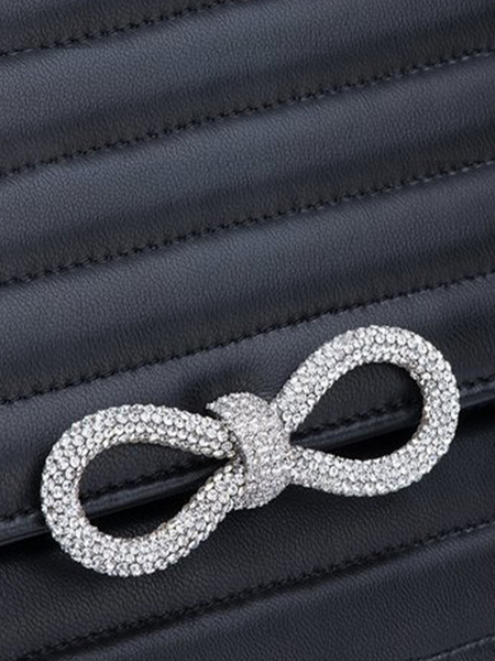 Crystalized Bow Leather Shoulder Bag