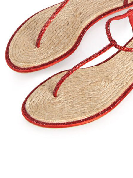 Flat Elegant Red Sandals Diana