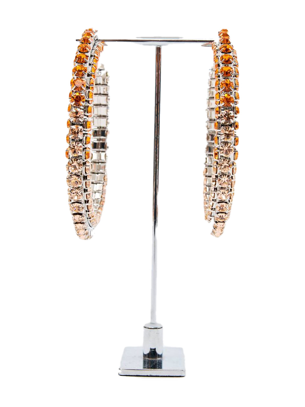 Stacked Ombre Orange Crystal Hoop 4