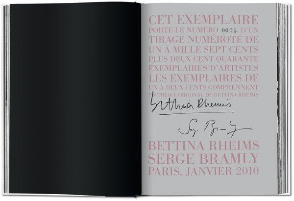 Rose - c'est Paris, Bettina Rheims/Serge Bramly Signed Page