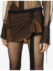 Gathered Front Mini Skirt