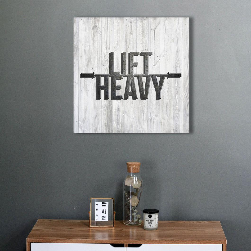Lift Heavy - Aged Wood Canvas Print