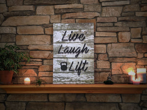 Live Laugh Lift - Mossy Wood Canvas Print
