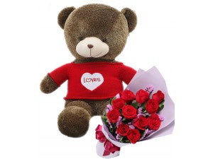60 cm Teddy and Roses Combo