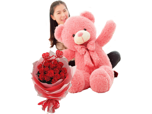 80cm Teddy And Roses
