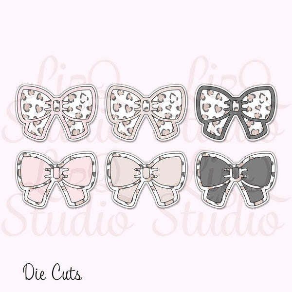 QX-005 Heart Leopard Bow Die Cuts