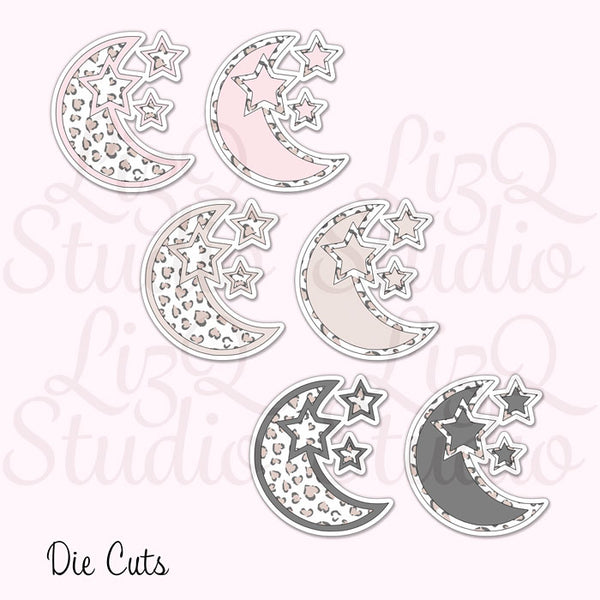 QX-007 Heart Leopard Moon Die Cuts