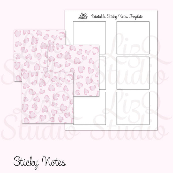 QN-004 Pink Heart Leopard Sticky Notes
