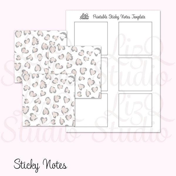 QN-005 Snow Heart Leopard Sticky Notes