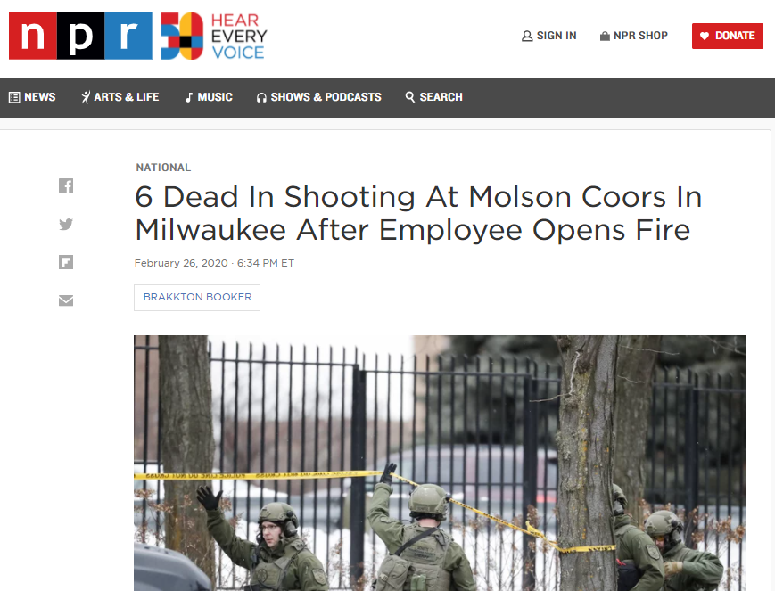 6 Dead in Shooting at Molson