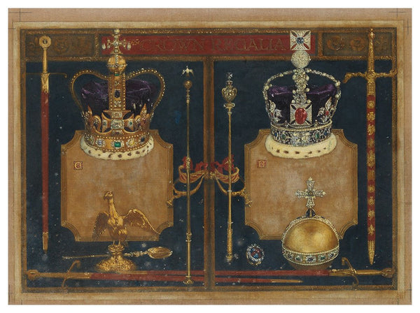 The Crown Regalia - 1953 Coronation artwork by Millar Watt