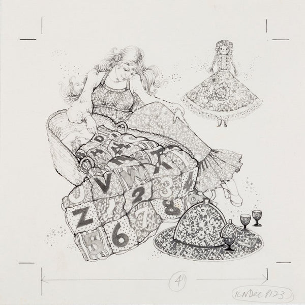 Shopping for Christmas by Ann Strugnell. 4 x pencil drawings