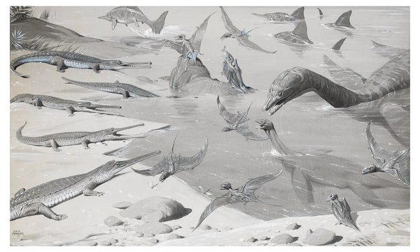 Original artwork by Neave Parker. A Scarborough Beach 150 Million Years Ago