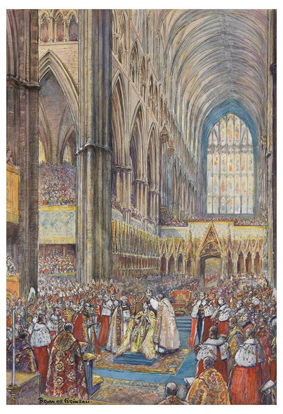 Coronation of Queen Elizabeth II. Original artwork by Bryan de Grineau