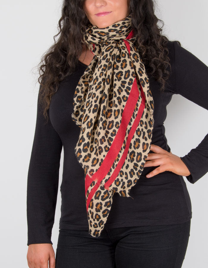 Image Showing a Animal Print Scarf with a Red Border