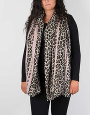 an image showing an animal print scarf with pink border