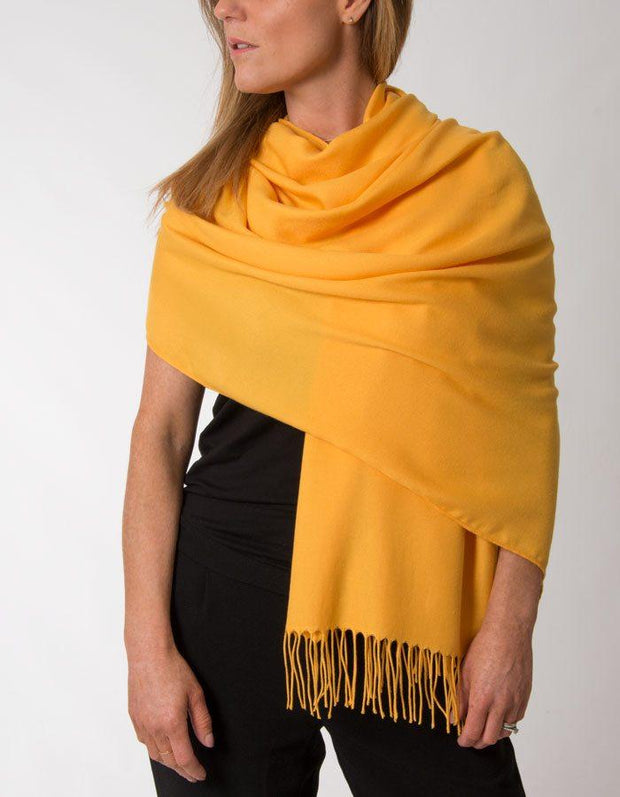 Amber Yellow Pashmina Shawl Wrap Scarf