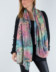 Animal Print Scarf Multicoloured Pastel