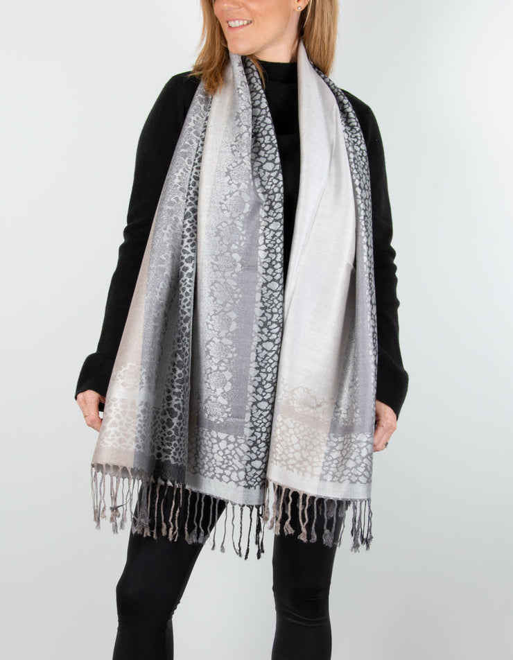Image showing a Animal Print Pashmina Black & Grey