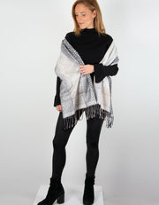 Image showing Animal Print Pashmina Black & Grey